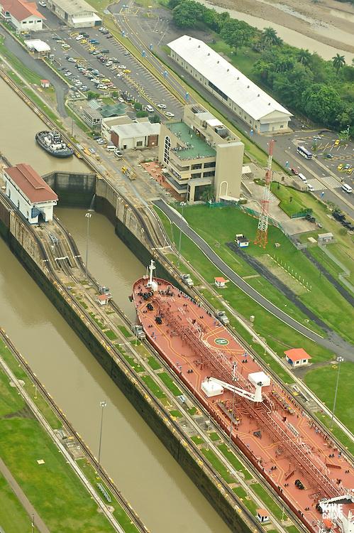 Container ship at Miraflores Lock. Panama Canal.