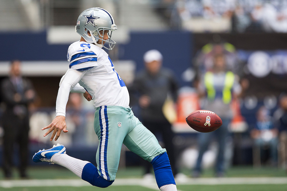 ARLINGTON, TX - NOVEMBER 18:  Brian Moorman #2 of the Dallas Cowboys punts the ball during a game against the Cleveland Browns at Cowboys Stadium on November 18, 2012 in Arlington, Texas.  The Cowboys defeated the Browns 23-20.  (Photo by Wesley Hitt/Getty Images) *** Local Caption *** Brian Moorman