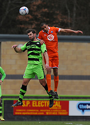 Forest Green Rovers's Aarran Racine loses the high ball to Braintree Town's Remy Clerima  - Photo mandatory by-line: Nizaam Jones - Mobile: 07966 386802 - 14/03/2015 - SPORT - Football - Nailsworth - The New Lawn - Forest Green Rovers v Braintree  - Vanarama Football Conference.