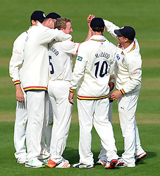Durham's Paul Collingwood celebrates the wicket of Somerset's Jim Allenby. - Photo mandatory by-line: Harry Trump/JMP - Mobile: 07966 386802 - 12/04/15 - SPORT - CRICKET - LVCC County Championship - Day 1 - Somerset v Durham - The County Ground, Taunton, England.