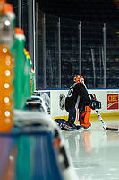 KELOWNA, BC - SEPTEMBER 23:  Shane Starrett #40 of the Edmonton Oilers stretches on the ice prior to practice at Prospera Place on September 23, 2019 in Kelowna, Canada. (Photo by Marissa Baecker/Shoot the Breeze)