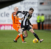10th April 2018, Tannadice Park, Dundee, Scotland; Scottish Championship football, Dundee United versus St Mirren; Ryan Flynn of St Mirren and Willo Flood of Dundee United