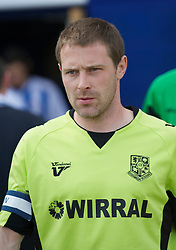 COLCHESTER, ENGLAND - Saturday, April 24, 2010: Tranmere Rovers' Captain Ian Thomas-Moore leads his team out for the match against Colchester United's during the Football League One match at the Western Community Stadium. (Photo by Gareth Davies/Propaganda)