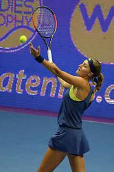 February 3, 2018 - St. Petersburg, Russia - Russia, St. Petersburg, on February 3, 2018. International female tennis tournament of WTA ''St. Petersburg Ladies Trophy2018''. In picture: Kristina Mladenovic (Franse) at semifinal match of female single games on tournament ''St. Petersburg Ladies Trophy2018'' against Daria Kasatkina  (Credit Image: © Andrey Pronin via ZUMA Wire)