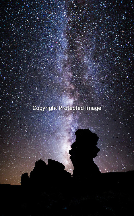 Multi shot photo of the milky way and the rocks of the crater of El Tiede near the Paraador hotel