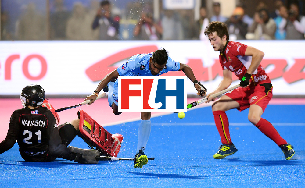 Odisha Men's Hockey World League Final Bhubaneswar 2017<br /> Match id:13<br /> Belgium v India<br /> Foto: keeper Vincent Vanasch (Bel) , Sumit (Ind) <br /> COPYRIGHT WORLDSPORTPICS FRANK UIJLENBROEK
