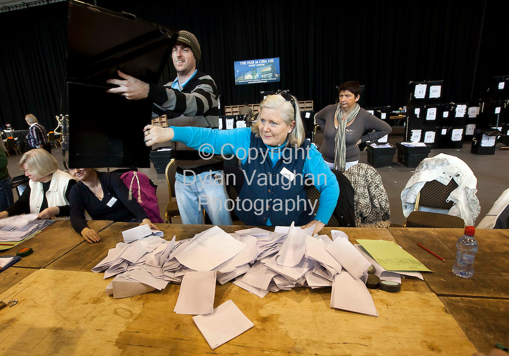 26/2/2011.Counting taking place at the Carlow Kilkenny Count in Cillin Hill in Kilkenny yesterday..Pictured are Sean Maher and Bridget Brannigan..Picture Dylan Vaughan.....