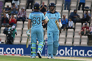 Buttler congratulated by Vince on reaching 50 during the ICC Cricket World Cup 2019 warm up match between England and Australia at the Ageas Bowl, Southampton, United Kingdom on 25 May 2019.