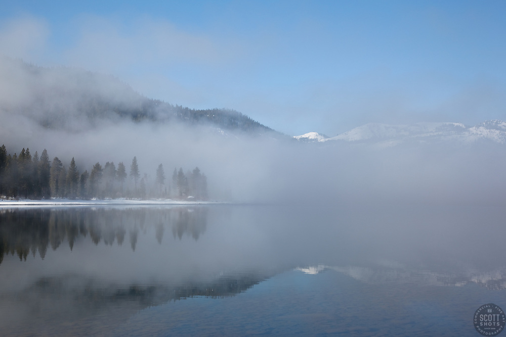 """Donner Lake Morning 2"" - These foggy lake and snow covered mountains were photographed at Donner Lake in Truckee, CA."