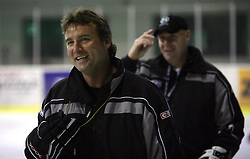 Head coach Mike Posma and Assistant coach Bojan Zajc at second ice hockey practice of HDD Tilia Olimpija on ice in the new season 2008/2009, on August 19, 2008 in Hala Tivoli, Ljubljana, Slovenia. (Photo by Vid Ponikvar / Sportal Images)