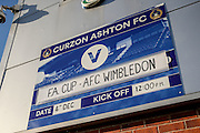 Stadium shot during the The FA Cup match between Curzon Ashton and AFC Wimbledon at Tameside Stadium, Ashton Under Lyne, United Kingdom on 4 December 2016. Photo by Simon Davies.