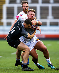 Jack Innard of Exeter Braves is tackled by Adam Radwan of Newcastle Falcons A-Team - Mandatory by-line: Robbie Stephenson/JMP - 06/05/2019 - RUGBY - Kingston Park Stadium - Newcastle upon Tyne, England - Newcastle Falcons 'A' v Exeter Braves - Premiership Rugby Shield Semi-Final