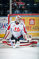 KELOWNA, CANADA - OCTOBER 31: Jayden Sittler #33 of Lethbridge Hurricanes makes a save against the Kelowna Rockets on October 31, 2015 at Prospera Place in Kelowna, British Columbia, Canada.  (Photo by Marissa Baecker/Shoot the Breeze)  *** Local Caption *** Jayden Sittler;