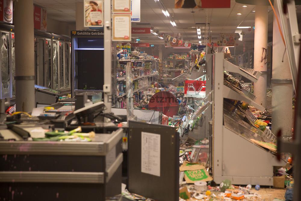Hamburg, Germany - 07.07.2017<br /> <br /> A plundered shop in Hamburg. No G20 protests in Hamburg.<br /> <br /> Ein bei den Anti G20-Protesten gepluendeter REWE im Hamburger Schanzenviertel.<br /> <br /> Photo: Bjoern Kietzmann