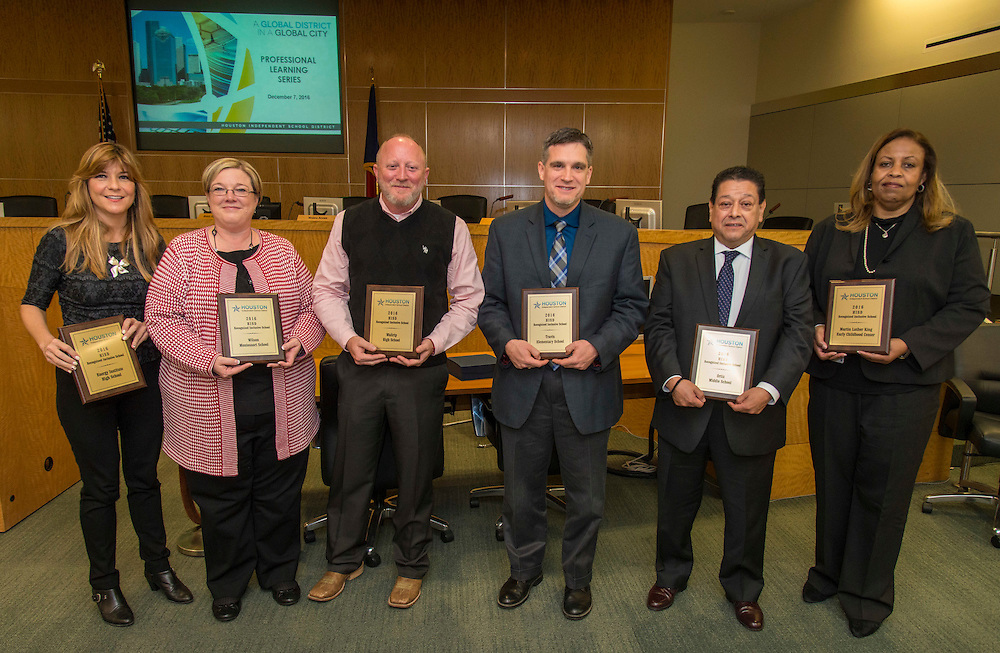 Lori Lambropoulos, Merrie Bonnette, Edward Mitchell, Thomas Day, Sam Dominguez and Gabrielle Coleman are recognized for leading inclusive schools during a principal Professional Learning Series meeting, December 7, 2016.