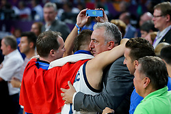 Luka Doncic of Slovenia and his father Sasa Doncic celebrating after winning during the Final basketball match between National Teams  Slovenia and Serbia at Day 18 of the FIBA EuroBasket 2017 at Sinan Erdem Dome in Istanbul, Turkey on September 17, 2017. Photo by Vid Ponikvar / Sportida