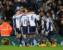 West Bromwich Albion's Craig Dawson celebrates with his team mates after scoring. - Photo mandatory by-line: Dougie Allward/JMP - Mobile: 07966 386802 - 02/12/2014 - SPORT - Football - West Bromwich - The Hawthorns - West Bromwich Albion v West Ham United - Barclays Premier League