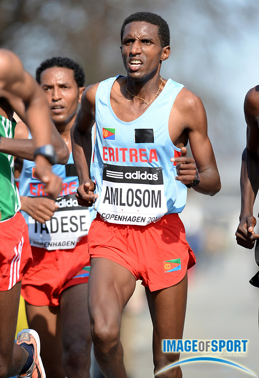 Mar 29, 2014; Copenhagen, Denmark; Nguse Amlosom (ERI) places fifth in the mens racde in 1:00:00 in the IAAF/AL-Bank World Half Marathon Championship. Photo by Jiro Mochizuki