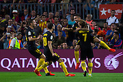 Atletic de Madrid celebrates his goal during the La Liga match between Barcelona and Atletico Madrid at Camp Nou, Barcelona, Spain on 21 September 2016. Photo by Eric Alonso.