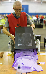 Scottish Parliament Election 2016 Royal Highland Centre Ingliston Edinburgh 05 May 2016; the postal ballot boxes for Edinburgh Western are opened and counting begins during the Scottish Parliament Election 2016, Royal Highland Centre, Ingliston Edinburgh.<br /> <br /> (c) Chris McCluskie | Edinburgh Elite media