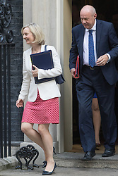Downing Street, London, September 13th 2016. Justice Secretary and Lord Chancellor Liz Truss and Work and Pensions Secretary Damian Green leave the weekly cabinet meeting at Downing Street.