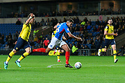 Gareth Evans (26) of Portsmouth  bursts in to the box to shoot at goal during the Leasing.com EFL Trophy match between Oxford United and Portsmouth at the Kassam Stadium, Oxford, England on 8 October 2019.