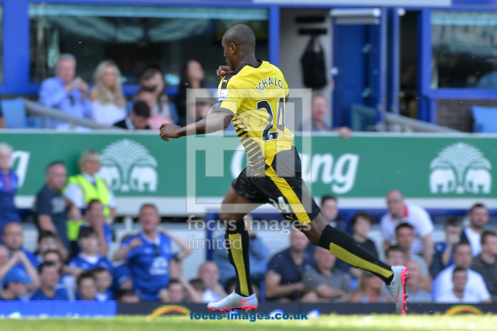 Odion Ighalo of Watford celebrates scoring their second goal to make it Everton 1 Watford 2 during the Barclays Premier League match at Goodison Park, Liverpool<br /> Picture by Ian Wadkins/Focus Images Ltd +44 7877 568959<br /> 08/08/2015