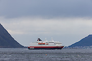 The passenger boat MS Richard With sailing outside Leinøy and Remøy, Norway | Hurtigruteskipet MS Richard With seiler forbi leinøy og Remøy, Norge.