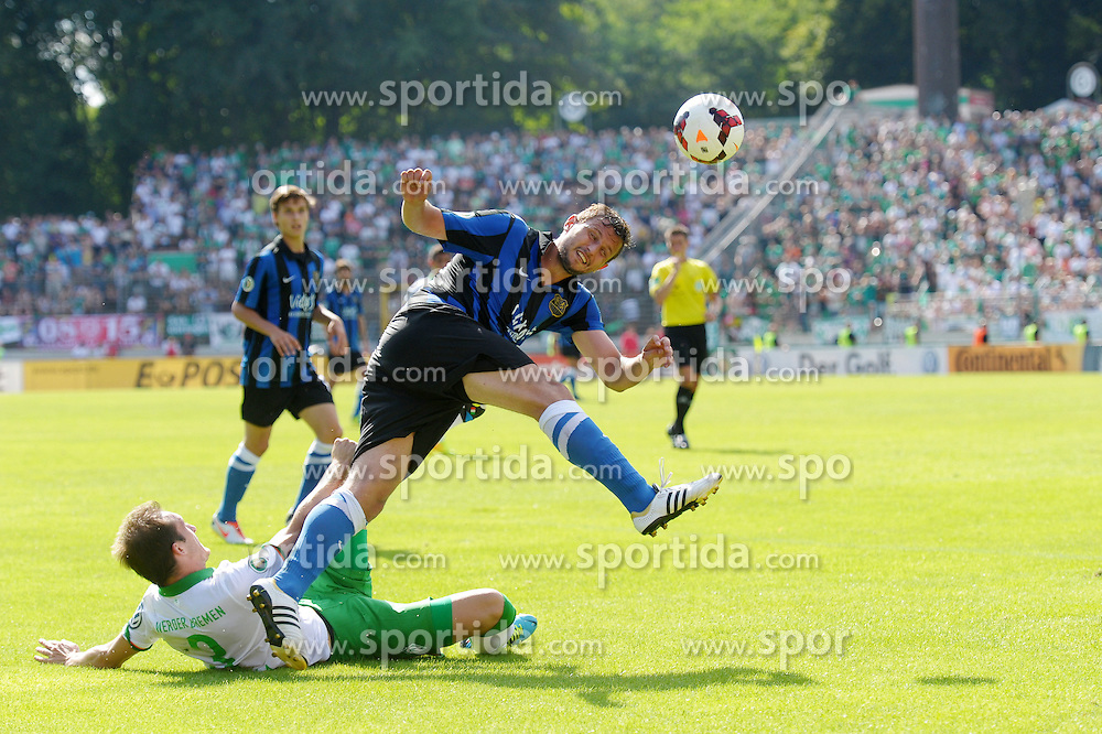 04.08.2013, Ludwigsparkstadion, Saarbruecken, GER, DFB Pokal, 1. FC Saarbruecken vs SV Werder Bremen, 1. Runde, im Bild im Zweikampf, Aktion, mit Luca Caldirola, SV Werder Bremen-#3, und Marcel Ziemer, FC Saarbruecken-#38 // during germans DFB Pokal 1st round match between 1.FC Saarbruecken and SV Werder Bremen at the Ludwigsparkstadion, Saarbruecken, Germany on 2013/08/04. EXPA Pictures &copy; 2013, PhotoCredit: EXPA/ Eibner/ Spektrum<br /> <br /> ***** ATTENTION - OUT OF GER *****