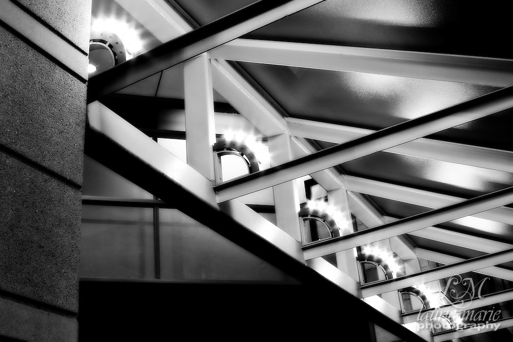 Lights under awning in black and white