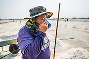 "28 MARCH 2014 - NA KHOK, SAMUT SAKHON, THAILAND: A Thai salt worker drinks an iced tea from a shared cup in a salt evaporation pond in Samut Sakhon province. Thai salt farmers south of Bangkok are experiencing a better than usual year this year because of the drought gripping Thailand. Some salt farmers say they could get an extra month of salt collection out of their fields because it has rained so little through the current dry season. Salt is normally collected from late February through May. Fields are flooded with sea water and salt is collected as the water evaporates. Last year, the salt season was shortened by more than a month because of unseasonable rains. The Thai government has warned farmers and consumers that 2014 may be a record dry year because an expected ""El Nino"" weather pattern will block rain in mainland Southeast Asia. Salt has traditionally been harvested in tidal basins along the coast southwest of Bangkok but industrial development in the area has reduced the amount of land available for commercial salt production and now salt is mainly harvested in a small parts of Samut Songkhram and Samut Sakhon provinces.    PHOTO BY JACK KURTZ"