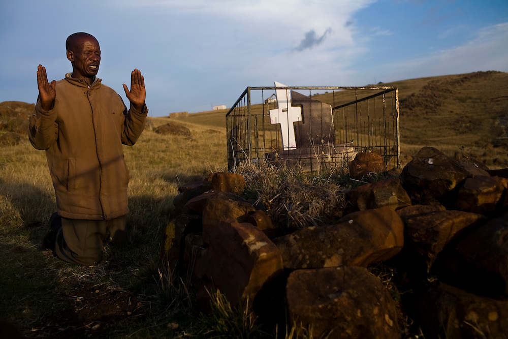 Thembinkosi N. ,50, worked in the gold mines in South Africa for 30 years until he was released in 2004 with TB. His wife died of TB in 2007 at the age of 31 and he regularly visits her grave to pray. South African Gold miners are particularly vulnerable to contracting TB because of the small, poorly ventilated work conditions, high rates of TB and high rates of silicosis, a lung disease often found in miners that increases the chance of catching TB.<br />