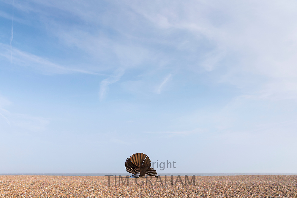 Iconic scallop shell steel sculpture by artist Maggi Hambling and made by Sam and Dennis Pegg in 2003, as a tribute to Benjamin Britten, sited on the beach between Aldeburgh and Thorpeness in Suffolk, England, UK