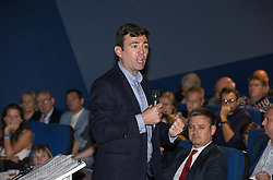 © Licensed to London News Pictures . 27/09/2015 . Brighton , UK . ANDY BURNHAM MP speaks at a Progress Rally fringe event at screen one of the Odeon Cinema on Brighton seafront , during the 2015 Labour Party Conference . Photo credit : Joel Goodman/LNP