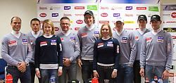 Miha Verdnik, Jernej Koblar, Ana Drev, Pavli Cebulj, Miha Kuerner, Marusa Ferk, Bernard Vajdic, Janez Jazbec and Ales Gorza during press conference of Slovenian Alpine Ski team team before FIS Ski World Cup Opening race in Soelden (AUT) on October 18, 2010 in Ljubljana, Slovenia. (Photo by Vid Ponikvar / Sportida)