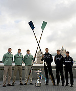 London, GREAT BRITAIN,   American Line up fro the left to right, Deaglan  McEACHERN, Ryan MONAHAN, Silas STAFFORD, Ben HARRISON Alex HEARNE and Colin GROSHONG, 2009 Varsity Boat Race,  Crew Announcement, venue More London, Wed 04.03.2009. [Mandatory Credit, Peter Spurrier / Intersport-images