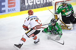 28.09.2014, Hala Tivoli, Ljubljana, SLO, EBEL, HDD Telemach Olimpija Ljubljana vs HC TWK Innsbruck, 6. Runde, im Bild Dustin VanBallegooie (HC TWK Innsbruck, #7) vs Kyle Medvec (HDD Telemach Olimpija, #22) and Andy Chiodo (HDD Telemach Olimpija, #40) // during the Erste Bank Icehockey League 6th round match betweeen HDD Telemach Olimpija Ljubljana and HC TWK Innsbruck at the Hala Tivoli in Ljubljana, Slovenia on 2014/09/28. EXPA Pictures &copy; 2014, PhotoCredit: EXPA/ Sportida/ Matic Klansek Velej<br /> <br /> *****ATTENTION - OUT of SLO, FRA*****