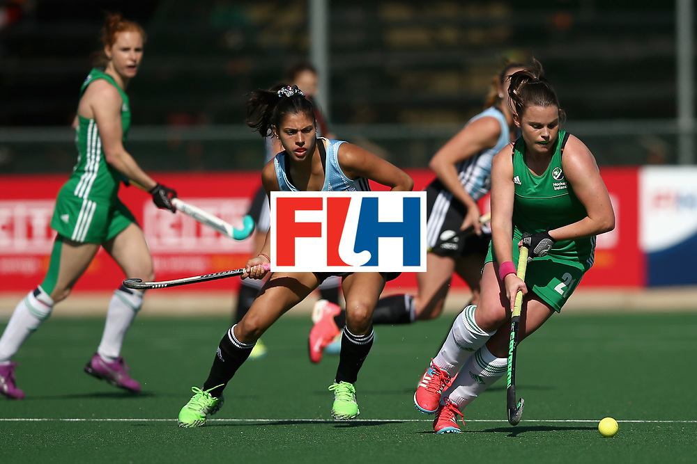 JOHANNESBURG, SOUTH AFRICA - JULY 18: Lizzie Colvin of Ireland attempts to take the ball past Maria Ortiz of Argentina during the Quarter Final match between Argentina and Ireland during the FIH Hockey World League - Women's Semi Finals on July 18, 2017 in Johannesburg, South Africa.  (Photo by Jan Kruger/Getty Images for FIH)