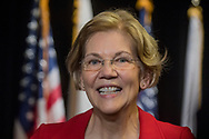 January 28, 2018  Malden High School, Malden, Massachusetts, USA: Senator Elizabeth Warren (D-MA) speaking during press conference after Town Hall Meeting at Malden High School. 1100 came to attend the town hall meeting, according to the organizer.
