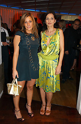 Left to right, MELISSA DEL BONO and YASMIN MILLS at a party hosted by Elizabeth Saltzman and Harvey Nichols to celebrate the UK launch of New York fashion designer Tory Burch held at the Fifth Floor Restaurant, Harvey Nichols, Knightsbridge, London on 24th May 2006.<br /><br />NON EXCLUSIVE - WORLD RIGHTS