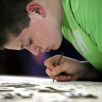 Oisin O'Gorman ,Scarriff National School taking part in an Art Workshop at Mountshannon Hall as part of the Iniscealtra Arts Festival which will run from May 25th to June 4th.<br /><br />Photograph by Eamon Ward