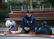 Putney, London.  Pre Varsity Boat race fixture. Sir Matthew PINSENT, Umpire, relaxes before the race. Cambridge UBC. vs GBR U23 crew raced over parts of the Championship Course, [Putney to Mortlake].  Race divided into two trials. 1. Start to Hammersmith Pier. 2. Chiswick Eyot to Finish. River Thames. Saturday   26/02/2011 [Mandatory Credit -Karon Phillips/Intersport Images]...