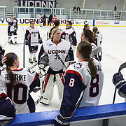 The UConn players during warm up before the UConn Vs Boston University, Women's Ice Hockey game at Mark Edward Freitas Ice Forum, Storrs, Connecticut, USA. 5th December 2015. Photo Tim Clayton
