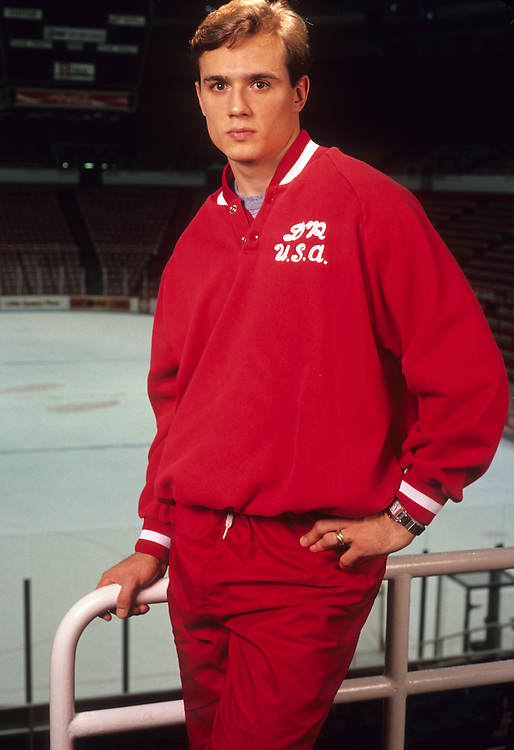 DETROIT, MI - UNDATED:  NHL star Steve Yzerman poses for a portrait at the Joe Louis Arena in Detroit, Michigan.  (Photo by Ron Vesely)