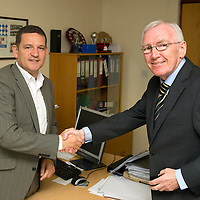 Daily Record Sports reporter Hugh Keevins pictured talking with St Johnstone Chairman Steve Brown on a visit to McDiarmid Park..13.09.12<br /> Picture by Graeme Hart.<br /> Copyright Perthshire Picture Agency<br /> Tel: 01738 623350  Mobile: 07990 594431