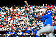 May 1 2011; Phoenix, AZ, USA; Chicago Cubs batter Alfonso Soriano (12) swings at a pitch as the Chicago Cubs watch from the dugout during the eighth inning against the Arizona Diamondbacks at Chase Field. The Diamondbacks defeated the Cubs 4-3. Mandatory Credit: Jennifer Stewart-US PRESSWIRE..