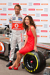 Jenson Button and Myleene Klass photocall.<br /> Formula 1 star Button is joined by the TV personality Myleene Klass to pose for pictures with a McClaren car to promote the car manufacturer's sponsor Santander. British Medical Association, <br /> London, United Kingdom,<br /> Wednesday, 26th June 2013<br /> Picture by Nils Jorgensen / i-Images