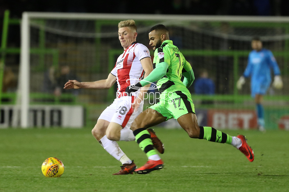 Taylor Moore and Dan Wishart during the EFL Sky Bet League 2 match between Forest Green Rovers and Cheltenham Town at the New Lawn, Forest Green, United Kingdom on 25 November 2017. Photo by Antony Thompson.