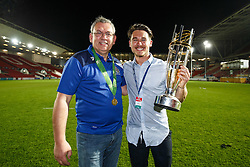 Bristol Rugby Club Statsitician Neil Williams and Head of Communications Tom Tainton celebrate with the trophy after winning the Championship Final and promotion to the Aviva Premiership - Mandatory byline: Rogan Thomson/JMP - 25/05/2016 - RUGBY UNION - Ashton Gate Stadium - Bristol, England - Bristol Rugby v Doncaster Knights - Greene King IPA Championship Play Off FINAL 2nd Leg.