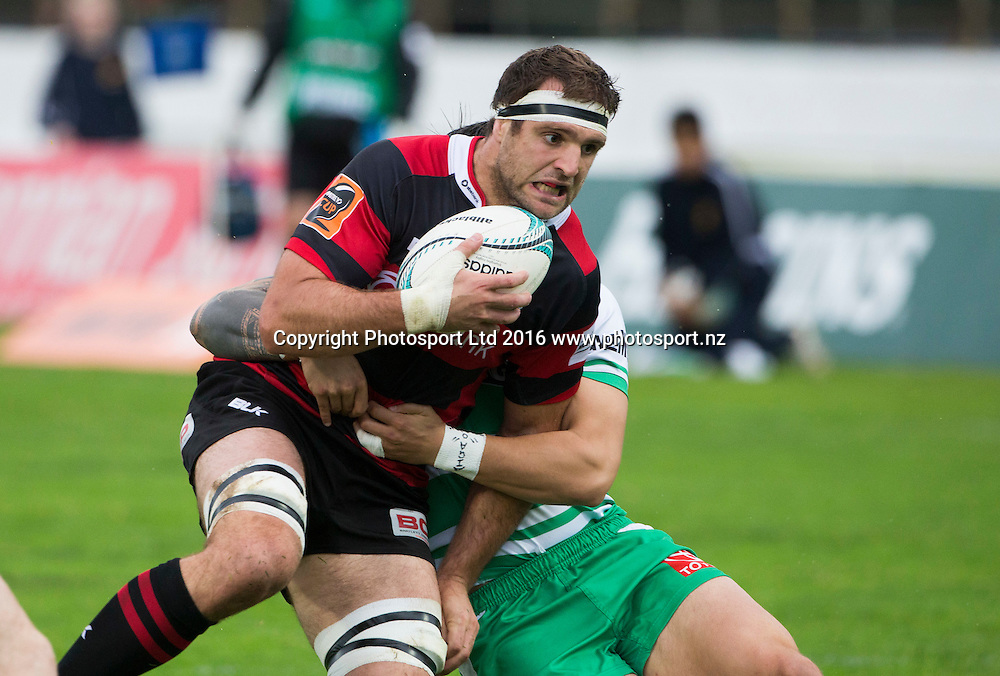 Canterbury's Luke Whitelock crashes into a tackle. Manawatu Turbo's v Canterbury, Mitre10 Cup rugby, CET Arena, Palmerston North, New Zealand. Saturday, 17 September, 2016. Copyright photo: John Cowpland / www.photosport.nz
